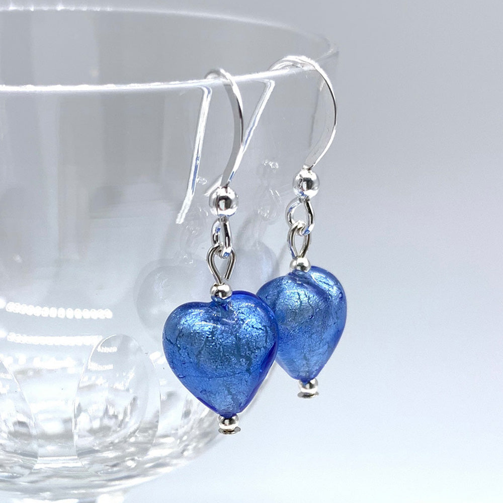 Earrings with cornflower blue Murano glass mini heart drops on silver or gold hooks