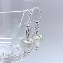 Earrings with clear crystal and white gold Murano glass mini heart drops on silver or gold hooks