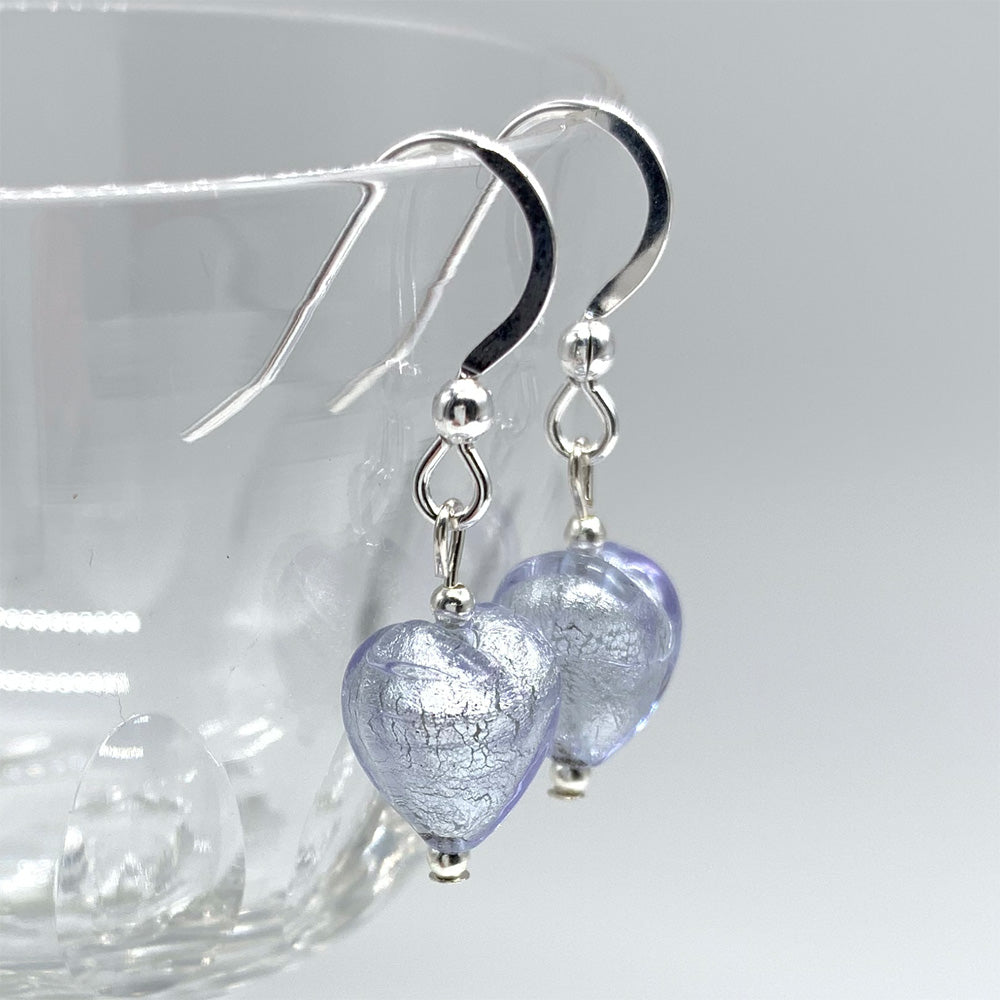 Earrings with lilac (purple) Murano glass mini heart drops on silver or gold hooks