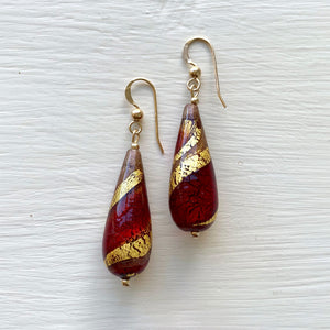 Earrings with red, gold & aventurine Murano glass long pear drops on silver or gold hooks