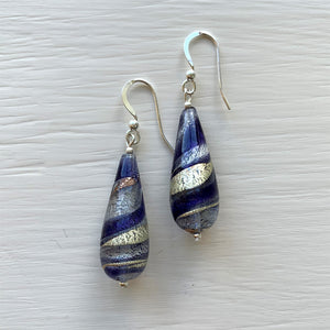Earrings with purple velvet, violet, white gold Murano glass long pear drops on silver or gold