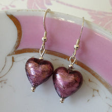 Earrings with dark amethyst (purple) Murano glass small heart drops on silver or gold hooks