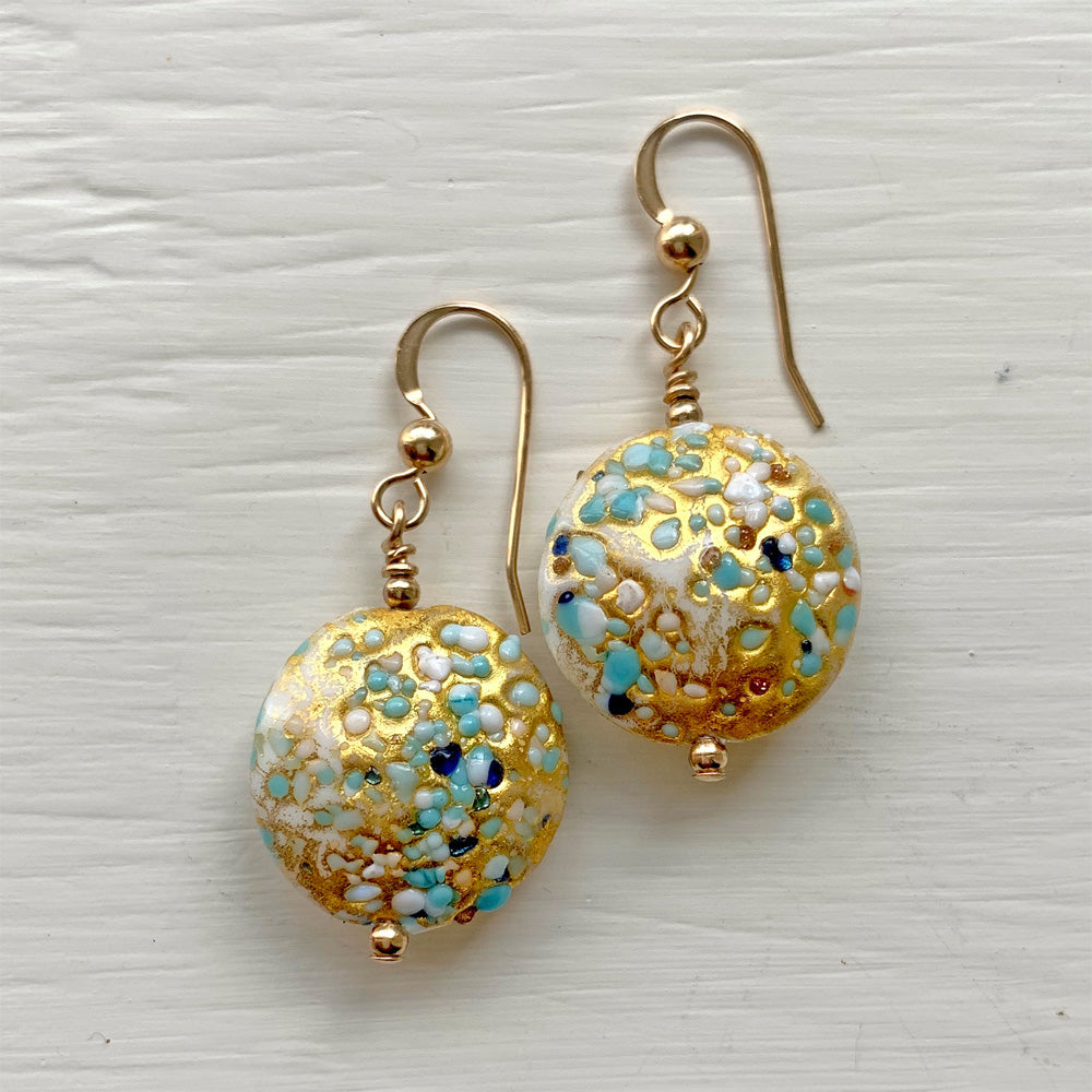 Earrings with speckled blues & white pastel, & gold Murano glass medium lentils on silver or gold hooks