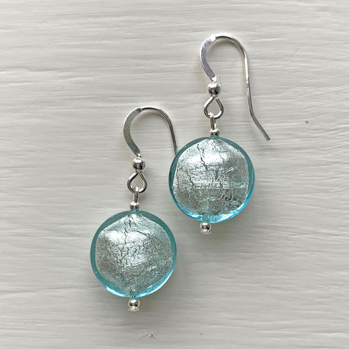 Earrings with aquamarine (blue) Murano glass small lentil drops on silver or gold hooks