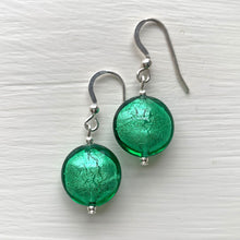 Earrings with dark green (emerald) Murano glass small lentil drops on silver or gold hooks