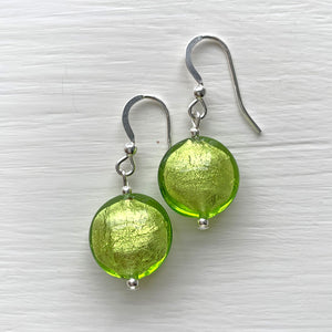 Earrings with light green (lime, peridot) Murano glass lentil drops on silver or gold