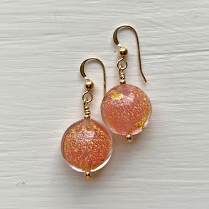 Earrings with rose pink pastel (alabaster) & gold Murano glass small lentil drops on silver or gold