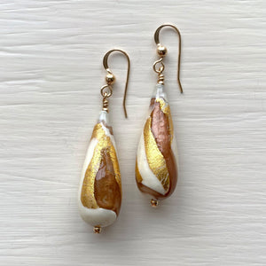 Earrings with ivory (white) gold aventurine Murano glass long pear drops on silver or gold