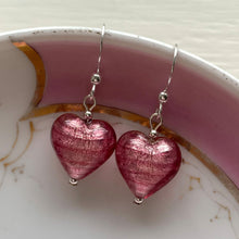 Earrings with rose pink (cerise) Murano glass small heart drops on silver or gold hooks
