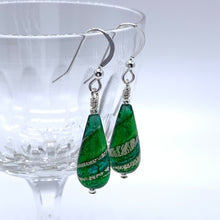 Earrings with dark green and white gold Murano glass short pear drops on silver or gold hooks