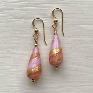 Earrings with shades of pink pastel and gold Murano glass short pear drops on silver or gold hooks