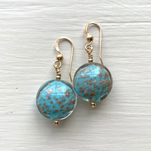 Earrings with blue pastel and aventurine Murano glass small lentil drops on silver or gold hooks