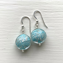 Earrings with light blue pastel and silver Murano glass lentil drops on silver or gold