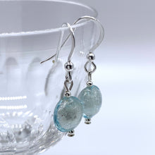 Earrings with aquamarine (blue) Murano glass mini lentil drops on silver or gold hooks