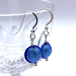 Earrings with cornflower blue Murano glass mini lentil drops on silver or gold hooks