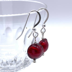 Earrings with red Murano glass mini lentil drops on silver or gold hooks