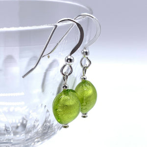 Earrings with light green (lime, peridot) Murano glass mini lentil drops on silver or gold