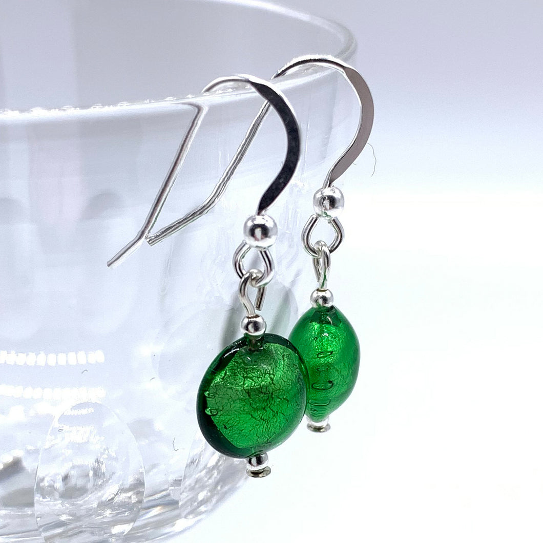Earrings with dark green (emerald) Murano glass mini lentil drops on silver or gold hooks