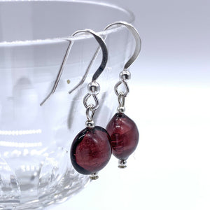 Earrings with dark amethyst (purple) Murano glass mini lentil drops on silver or gold hooks