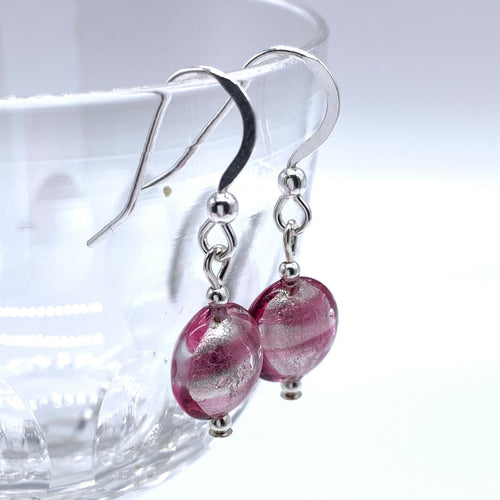 Earrings with candy stripe pink Murano glass mini lentil drops on silver or gold hooks