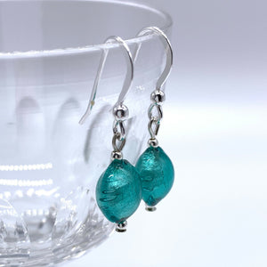 Earrings with teal (green, jade) Murano glass mini lentil drops on silver or gold hooks