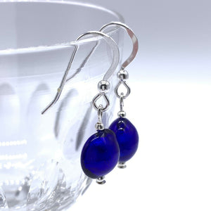 Earrings with dark blue (cobalt) Murano glass mini lentil drops on silver or gold hooks