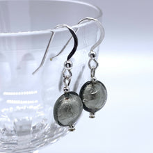 Earrings with grey Murano glass mini lentil drops on silver or gold hooks