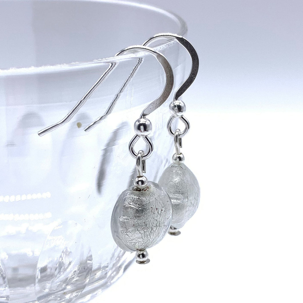 Earrings with clear crystal and white gold Murano glass mini lentil drops on silver or gold
