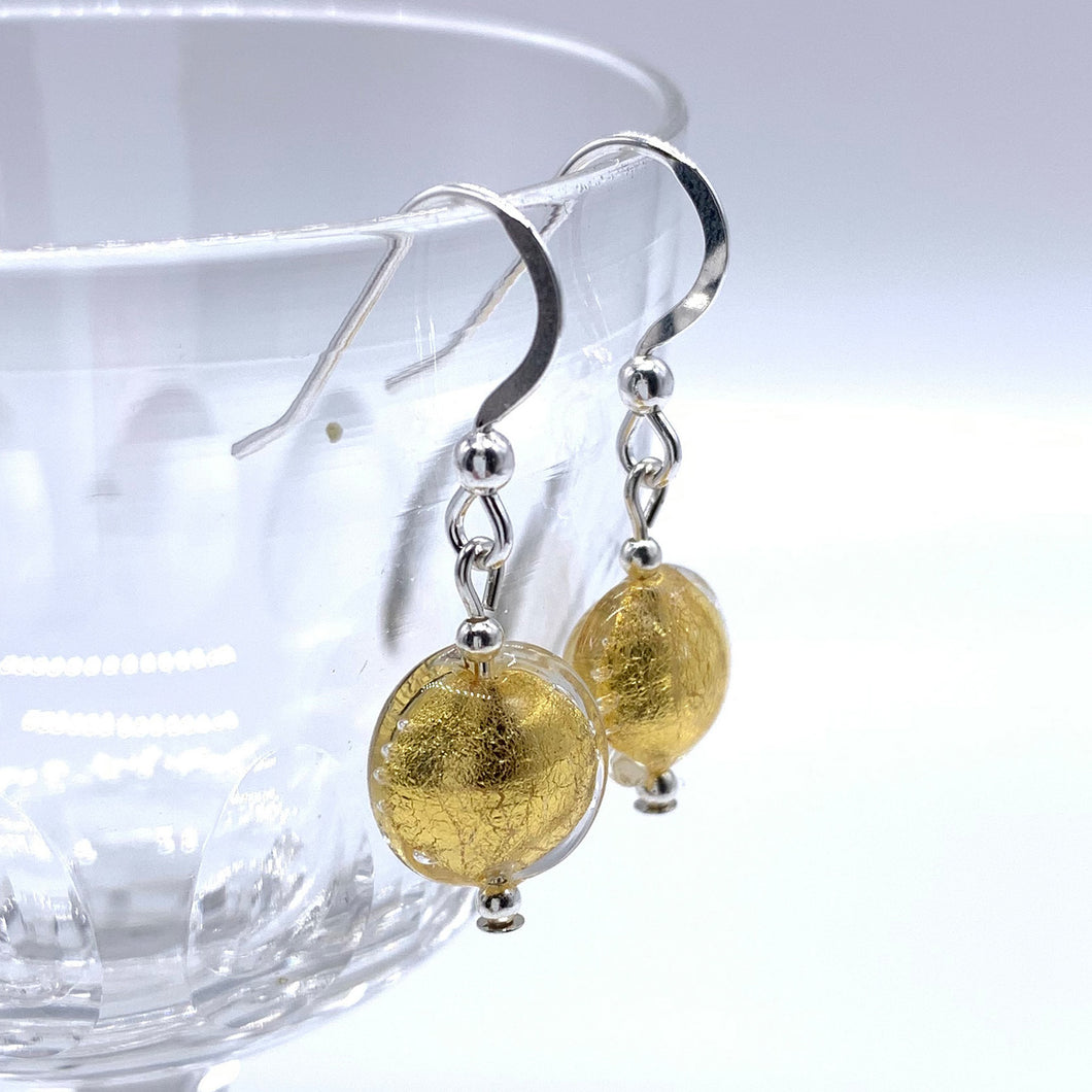 Earrings with light (pale) gold Murano glass mini lentil drops on silver or gold hooks