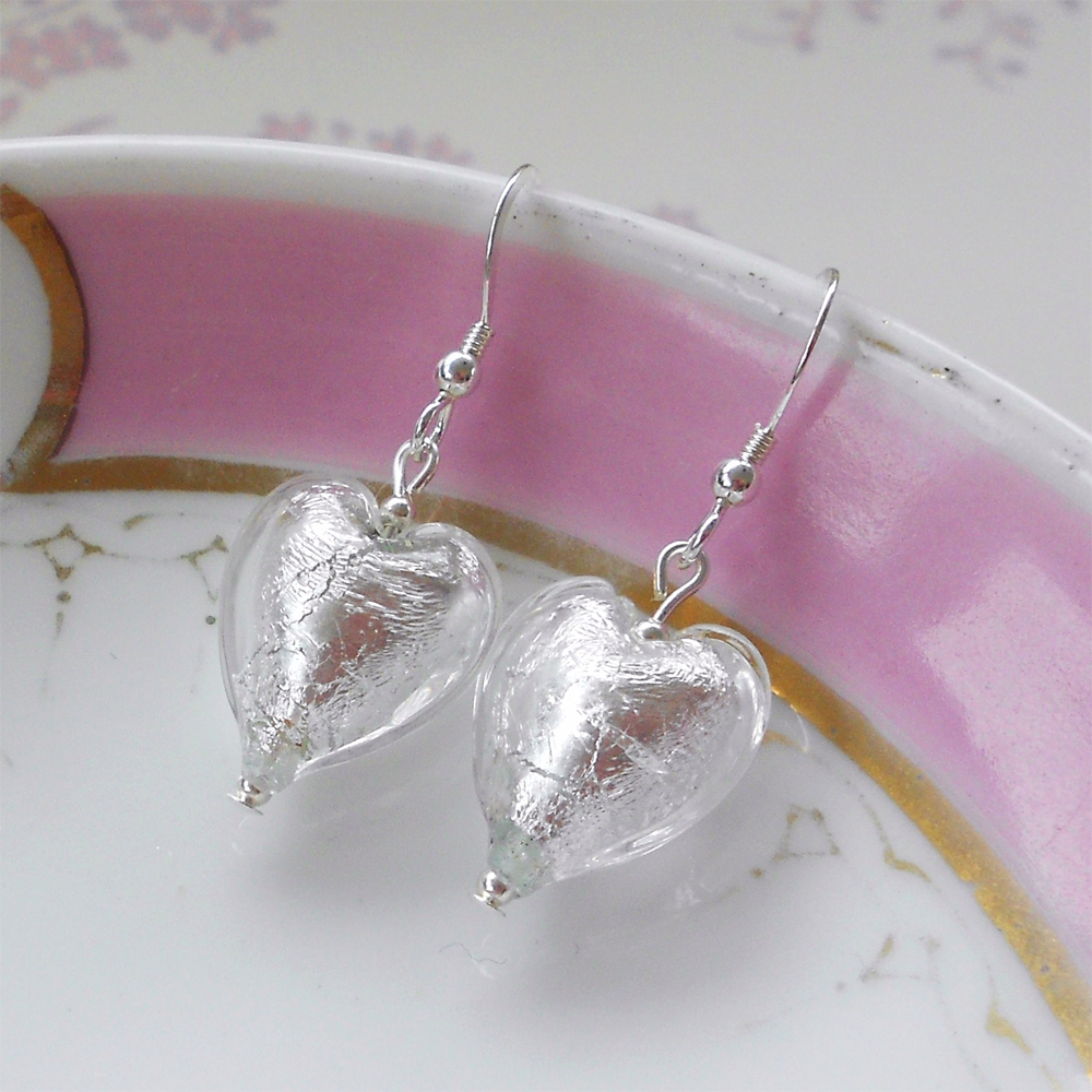 Earrings with clear crystal Murano glass small heart drops on Sterling Silver or 22 Carat gold vermeil hooks