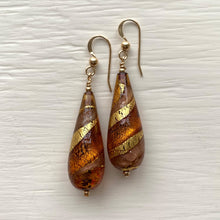 Earrings with brown topaz, gold & aventurine Murano glass long pear drops on silver or gold hooks