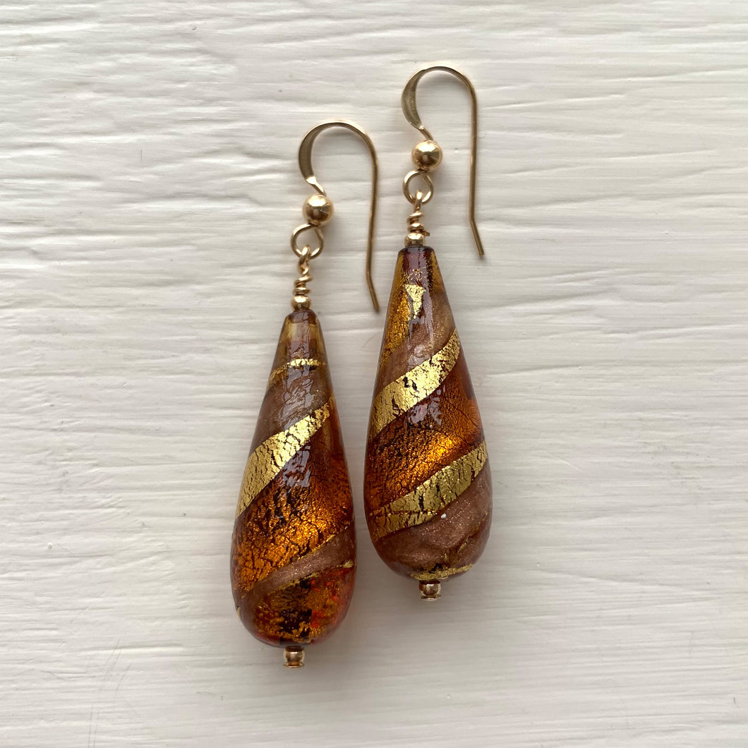 Earrings with brown topaz, gold and aventurine Murano glass long pear drops on silver or gold