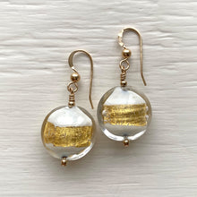 Earrings with white pastel and gold Murano glass medium lentil drops on silver or gold hooks