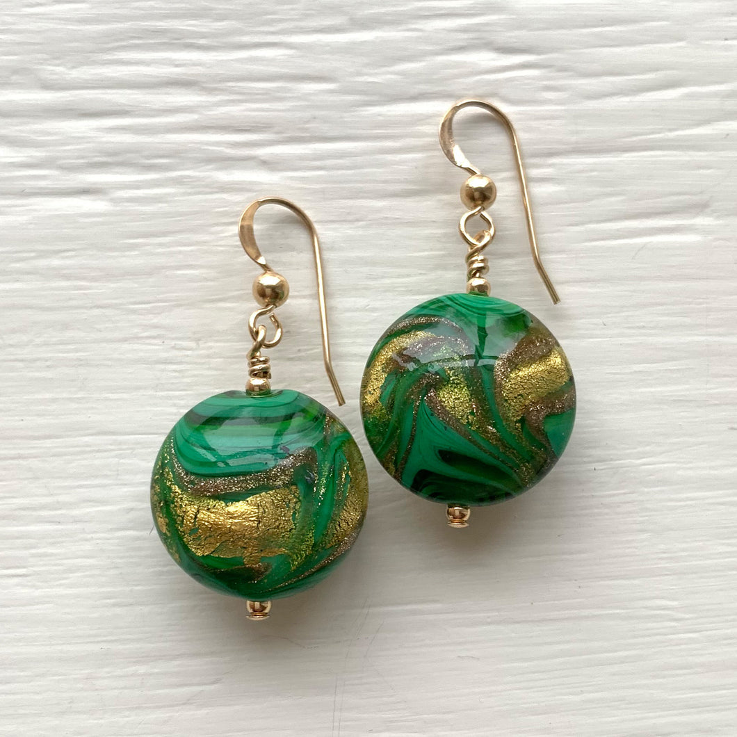 Earrings with green, gold & aventurine Murano glass medium lentil drops on silver or gold