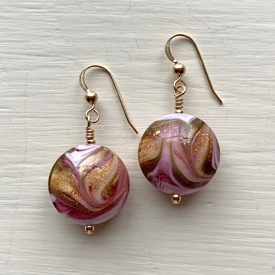 Earrings with byzantine pink (purple) and gold Murano glass medium lentil drops on silver or gold