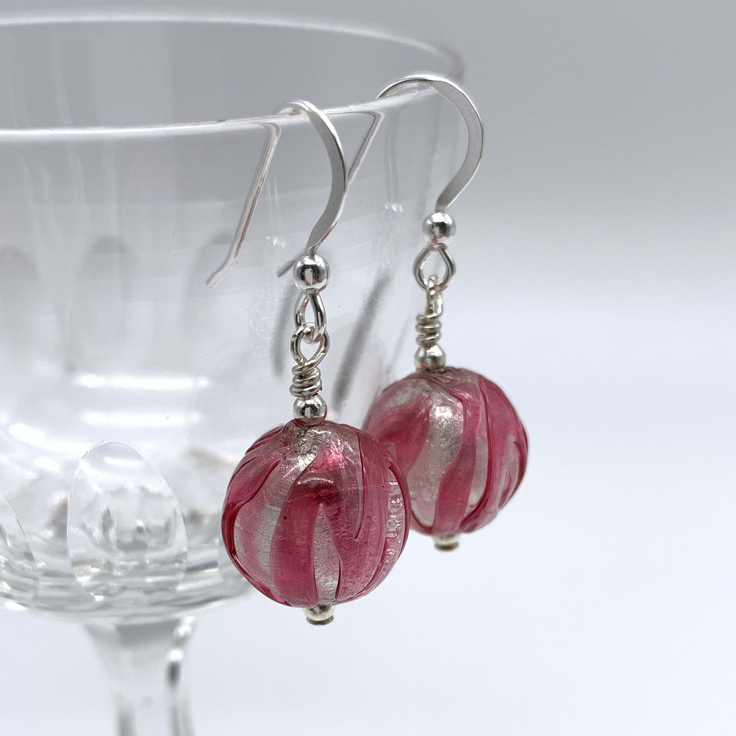 Earrings with rose pink and white gold Murano glass small sphere drops on silver or gold