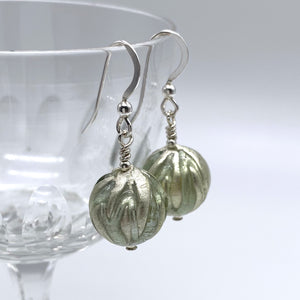Earrings with grey over white gold Murano glass sphere drops on silver or gold hooks