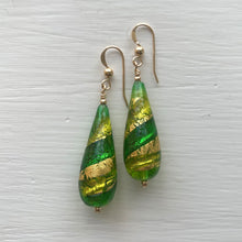Earrings with light and dark green, and gold Murano glass long pear drops on silver or gold