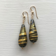 Earrings with grey, black and gold Murano glass long pear drops on silver or gold hooks