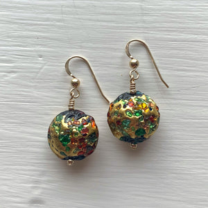 Earrings with speckled colours over gold Murano glass small lentil drops