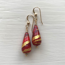 Earrings with red, red pastel & gold Murano glass short pear drops on silver or gold hooks