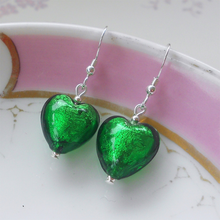 Earrings with dark green (emerald) Murano glass small heart drops on silver or gold hooks