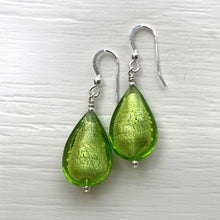 Earrings with light green (lime, peridot) Murano glass pear drops on silver or gold