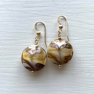 Earrings with byzantine ivory (white) and gold Murano glass lentil drops on silver or gold