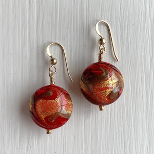 Earrings with byzantine red and gold Murano glass medium lentil drops on silver or gold