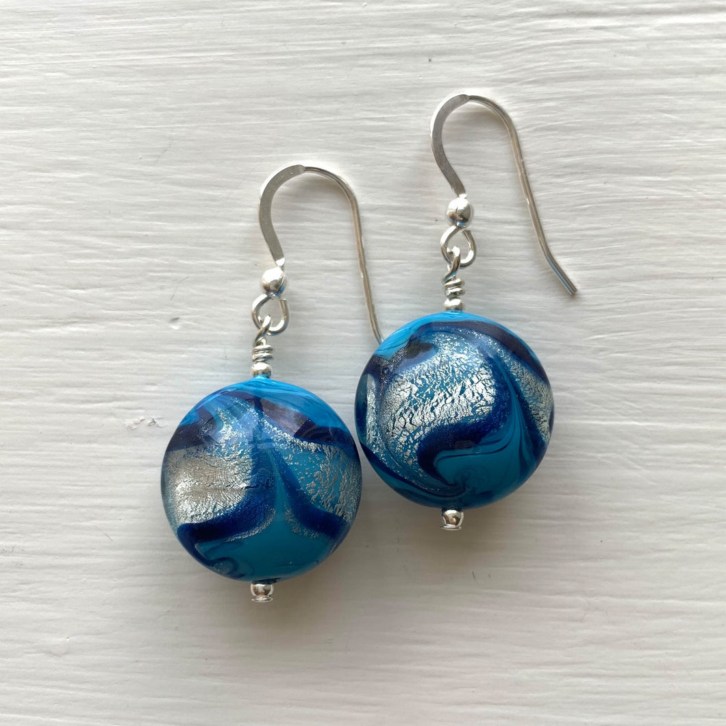 Earrings with byzantine blue and white gold Murano glass lentil drops on silver or gold