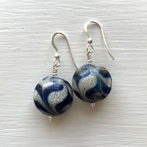 Earrings w/ dark blue (cobalt) & white gold Murano glass small lentil drops on silver or gold