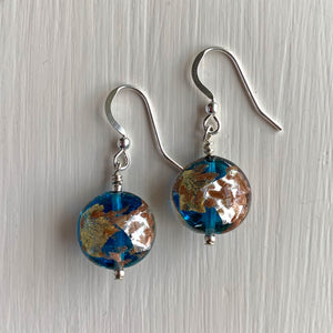 Earrings with blue, gold and silver Murano glass small lentil drops on silver or gold hooks