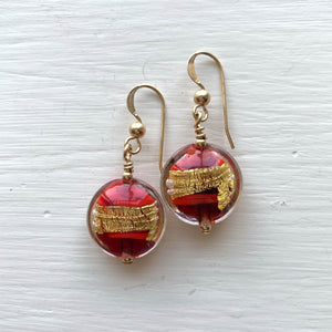 Earrings with red pastel and gold Murano glass small lentil drops on silver or gold hooks
