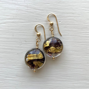 Earrings with black pastel and gold Murano glass small lentil drops on silver or gold hooks
